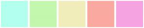Color Scheme with #B3FFED #C3F7AD #F0EDBB #FAA9A0 #F5A4E1