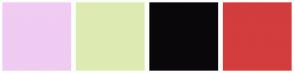 Color Scheme with #F0CBF2 #DDEBB2 #0A070A #D43D3D