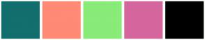 Color Scheme with #136E6E #FF8A75 #89EB78 #D4669D #000000