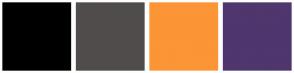 Color Scheme with #000000 #514C4C #FB9536 #4F366D