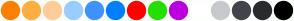 Color Scheme with #FF8000 #FFAD40 #FFCC99 #99CCFF #4092FF #007FFF #FF0100 #25DF00 #BA00DF #FFFFFF #C7C9CD #43444B #2A2B2F #000000