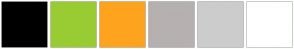 Color Scheme with #000000 #99CC33 #FDA31D #B6B0B0 #CCCCCC #FFFFFF