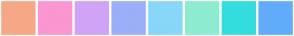 Color Scheme with #F6A886 #FB96D0 #D0A3F6 #9BAEF7 #88D6F9 #8DECCF #34DDDD #61ACFA