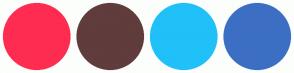 Color Scheme with #FF2C51 #603C3C #20C0F9 #3C6FC3