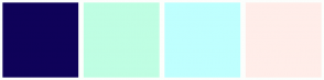 Color Scheme with #0F0259 #BFFEE3 #BFFFFE #FFEDE9
