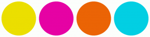 Color Scheme with #EBDF00 #E602A4 #EB6405 #02CFE3