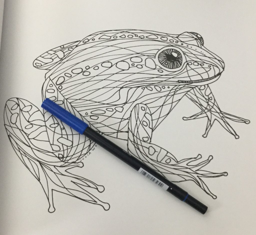 image of a frog with a fluid curvy pattern