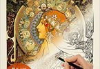Alphonse Mucha Japanese coloring book