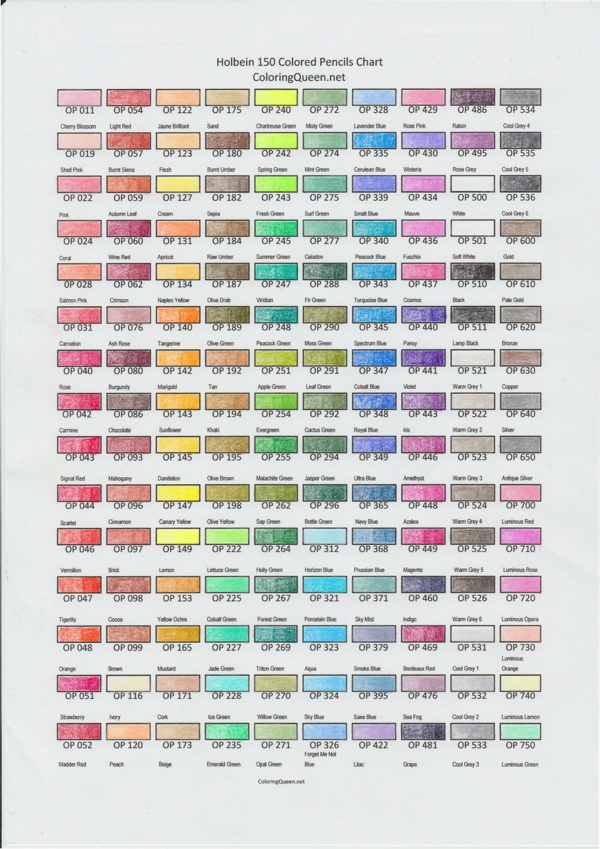 Holbein 150 pencil color swatch