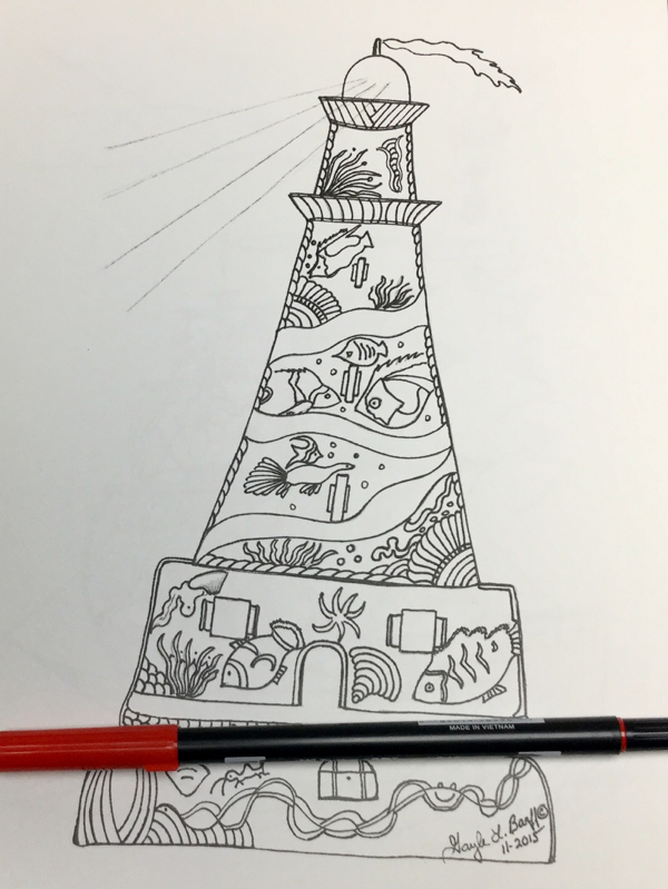 close up of a lighthouse in Scenic Lighthouses coloring book
