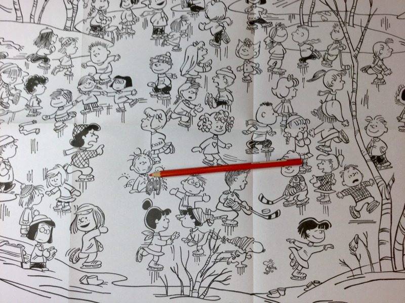 check out the Christmas inspired Charlie Brown wrapping paper and activity book to color in