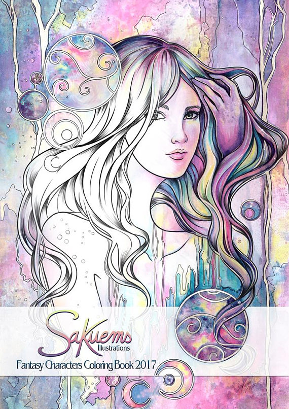 Sakuems Fantasty Characters Coloring Book 2017