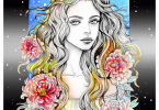 cover Women of Flowers Coloring Book illustrated by Grazia Salvo