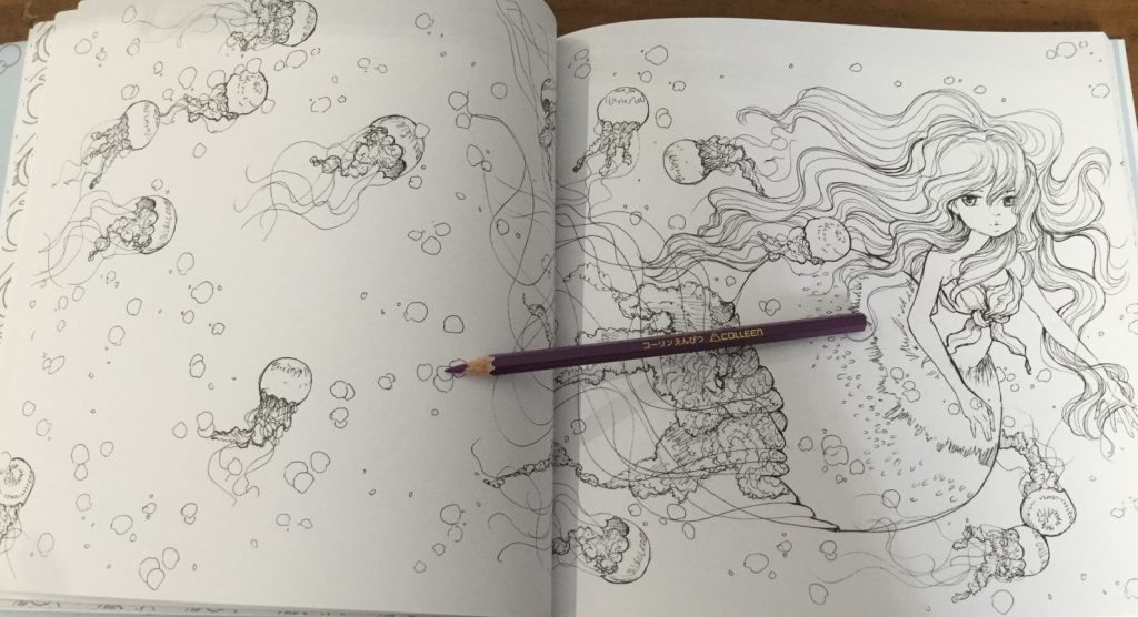 Pop Manga Mermaids Coloring book illustration