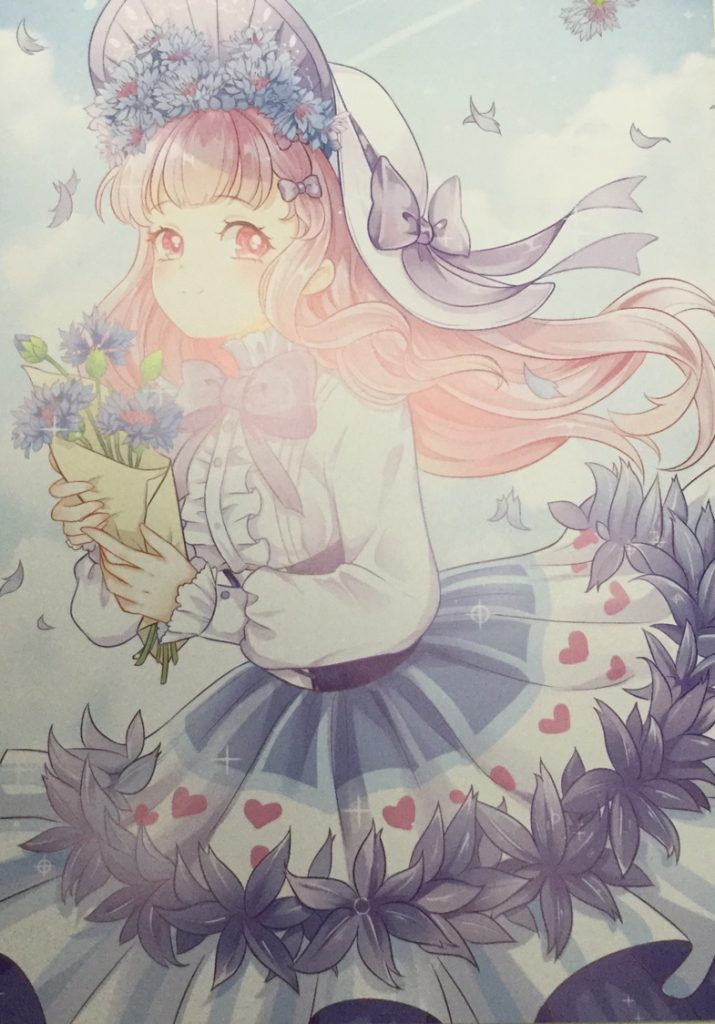Image from poster included with Coloring Book of Flowers and Sweetgirls