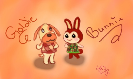 Animal Crossing - Goldie & Bunnie by PixelSarus