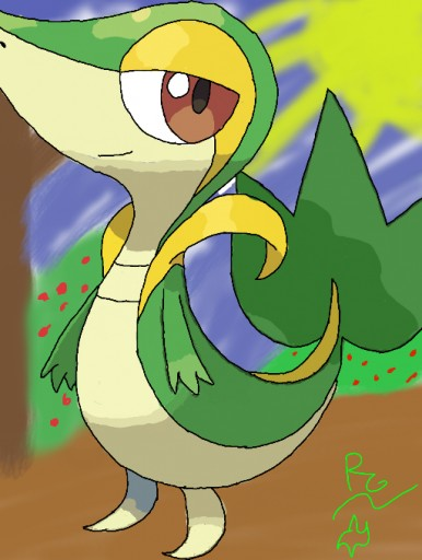 snivy (with backround) by hedgehog