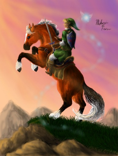 link and epona by Kjumper