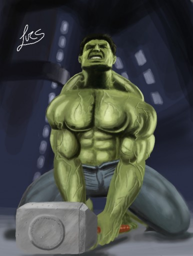 Hulk and Mjolnir by Lucsdf