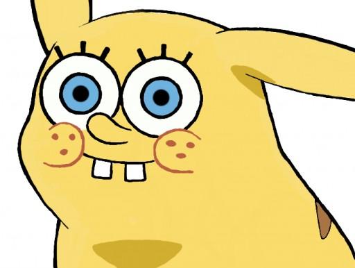Creepy Spongebob Face Pikachu With Spongebob-face by