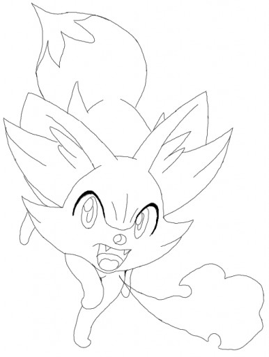 Pokemon Xyz Kleurplaat Colors Live Fennekin Outline By Arcanumfox