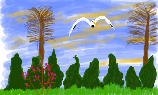 My garden and the stork by filisz