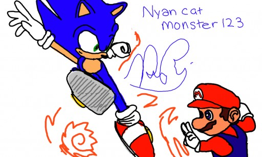 Sonic VS Mario by Nyancatmonster123