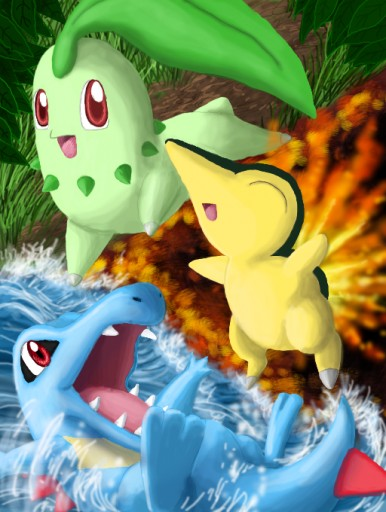 Generation II starters by Nipsu