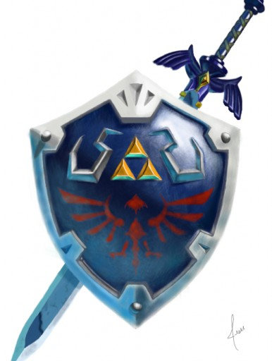 Hylian Shield and Master Sword by Malypso