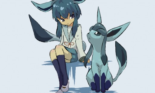 glaceon and his trainer by SakuChan