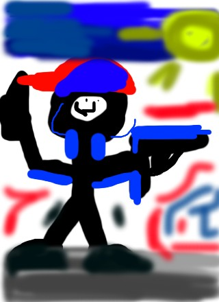 stickman with a gun  by Rah1324