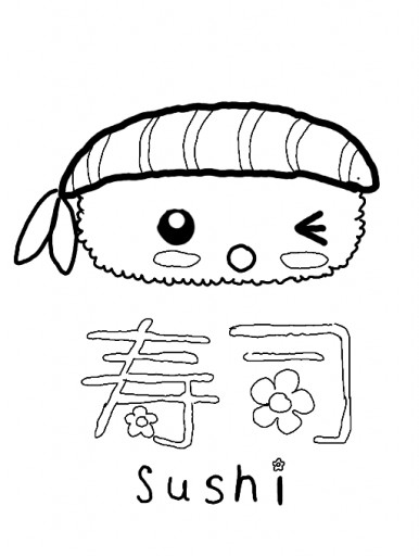 kawaii food sushi coloring pages sketch coloring page