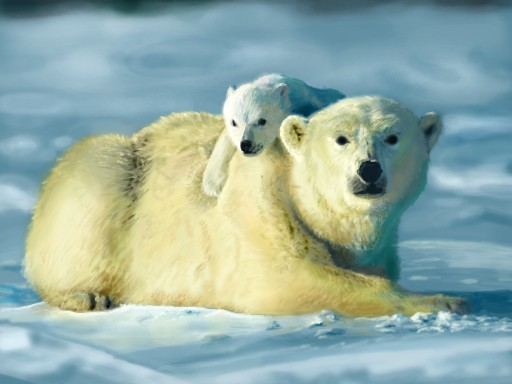 Polar bear with cub by otavio