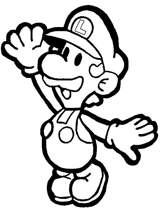 Paper Luigi Coloring Page