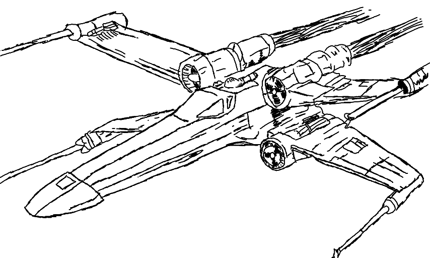 Free coloring pages of star fighter