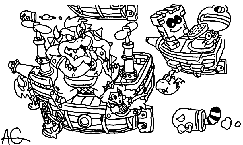 Mario Bros Bowser Coloring Pages by Sharon | Super mario coloring ... | 512x854