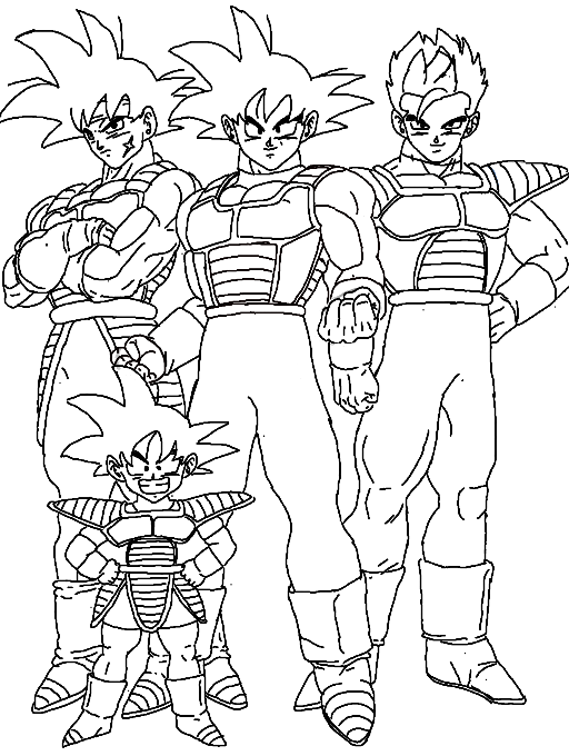 Colors Live Goku Family Coloring Page by wildsonic175