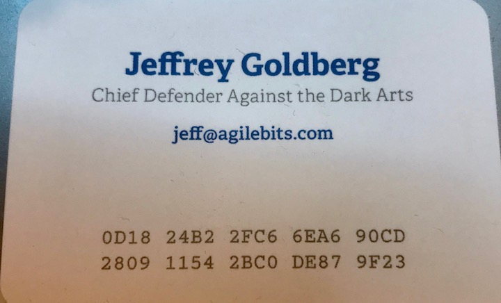 My business card with PGP Key Fingerprint