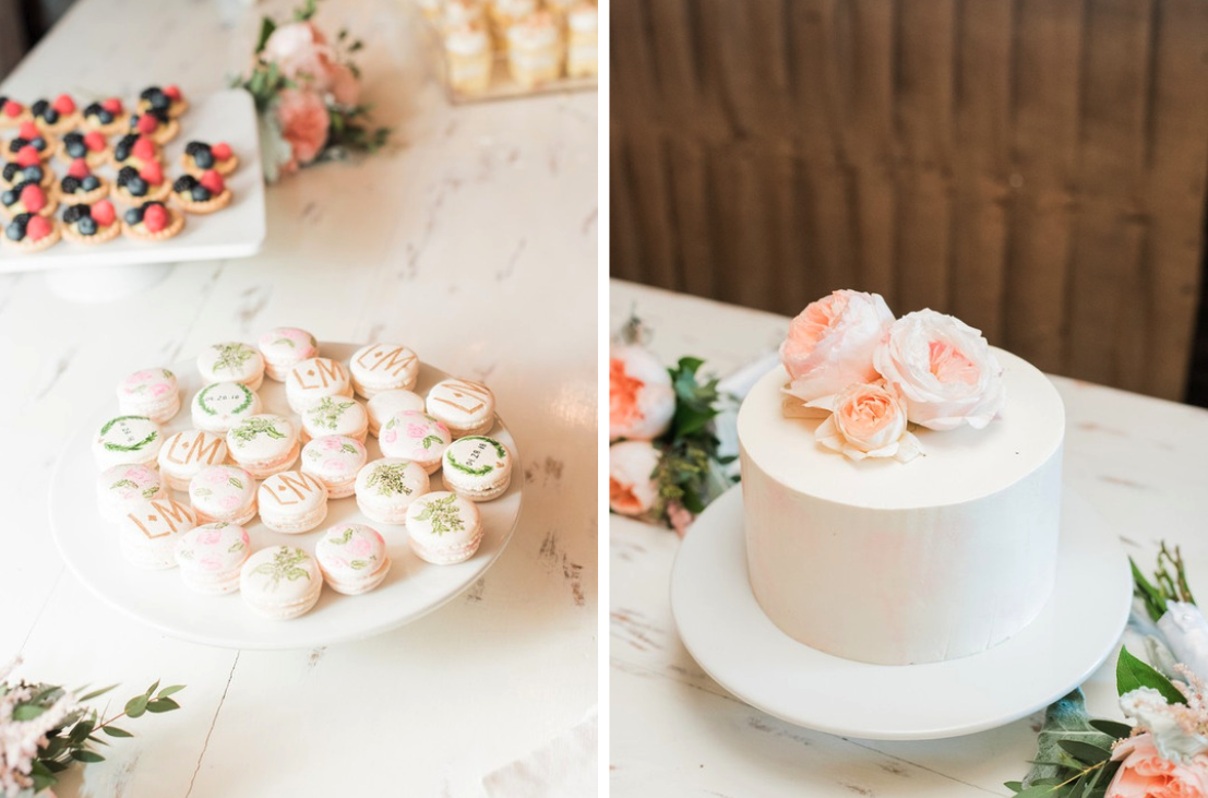 wedding cake and macarons