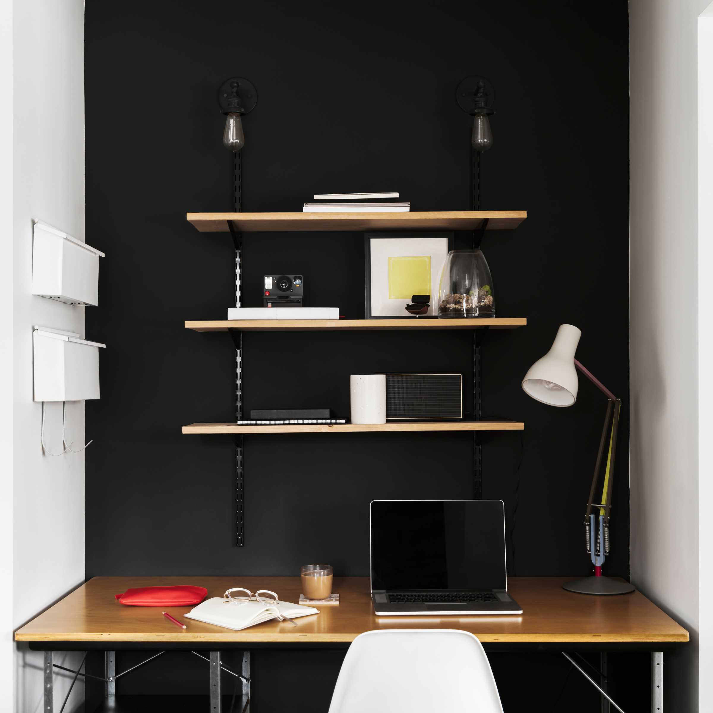 home office with wall shelving