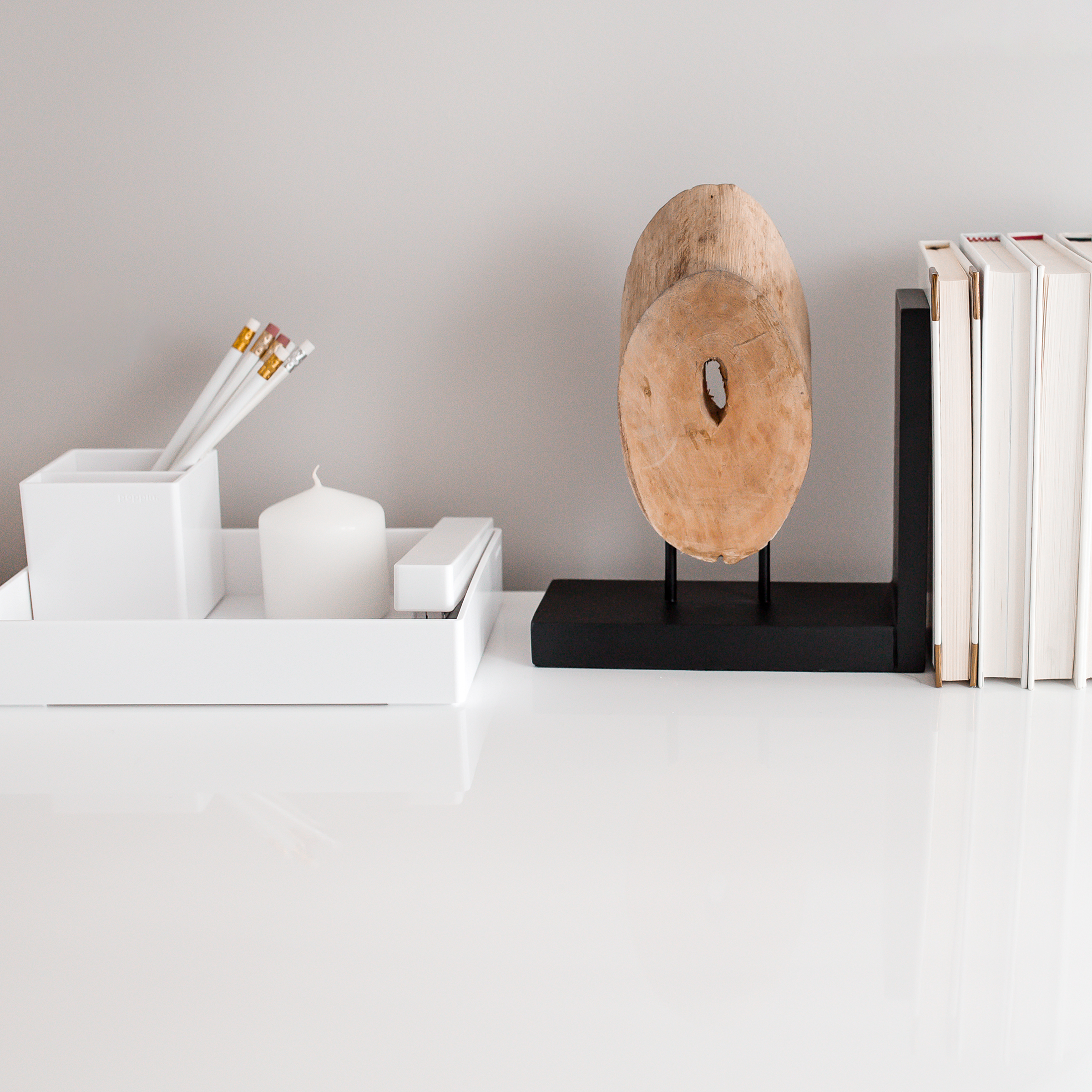 clear desk with books