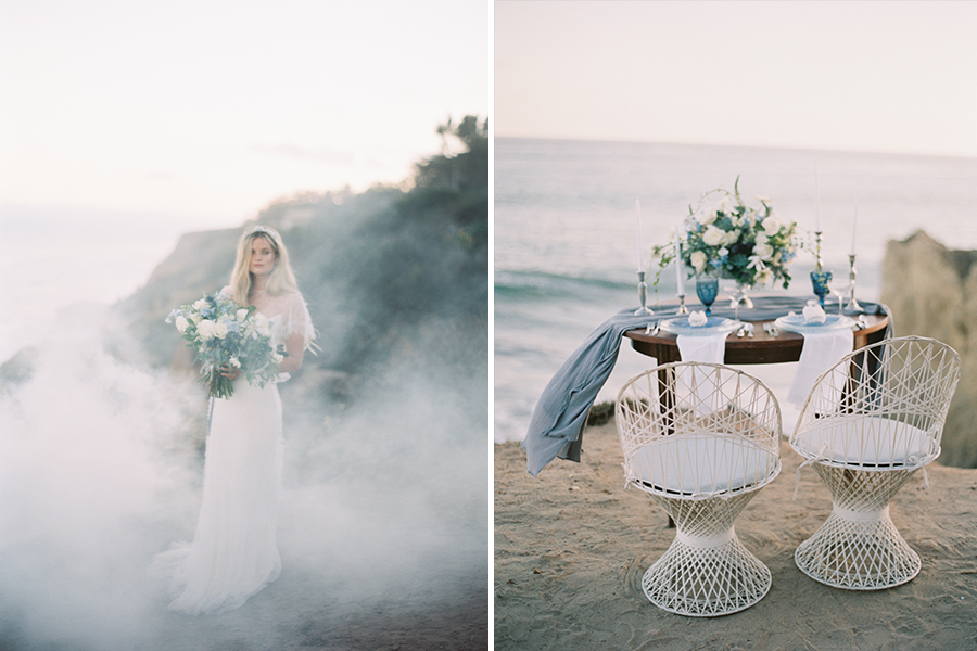 beachside bride surrounded by smoke holding bouquet (left), beachfront sweetheart table (right)