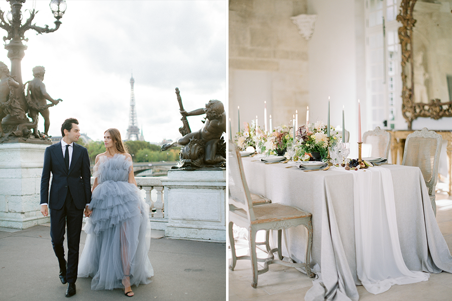chic engagement styled shoot couple strolling through the city (left), French chateau table setting (right))