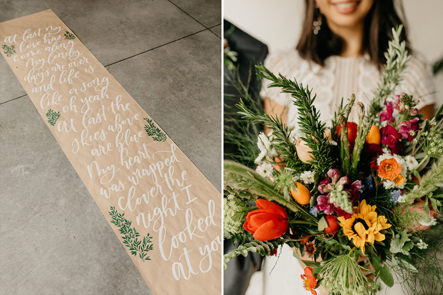 paper runner with 'At Last' lyrics written on them (left), bride smiling holding bouquet (right)