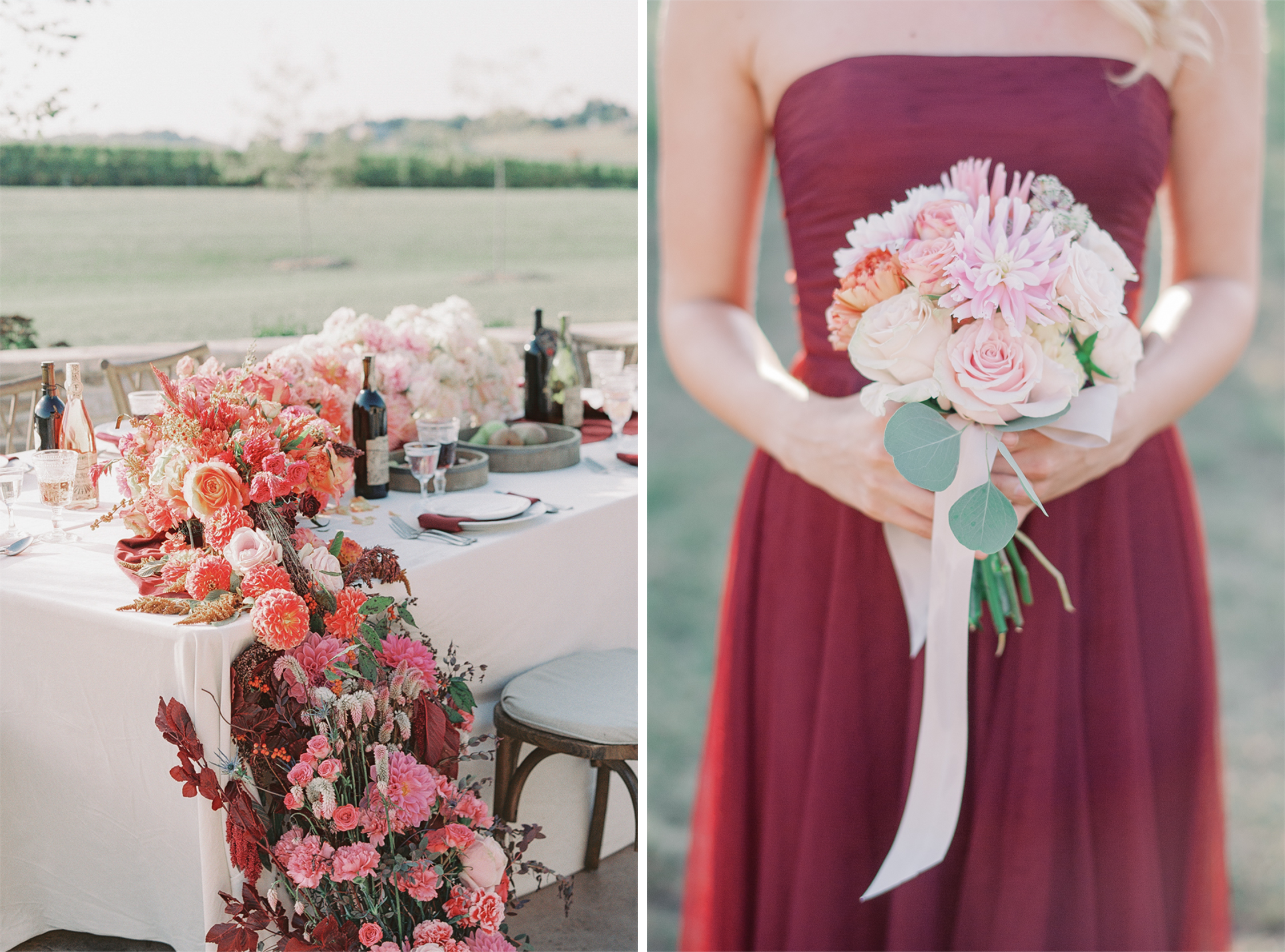 Pink Ombré Tablescape & Bridesmaids Dress