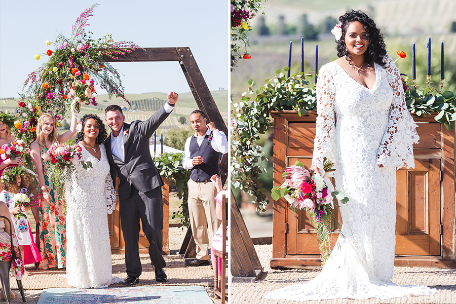 couple celebrating after ceremony under artsy wood arch (left) boho bride standing with bouquet (right)