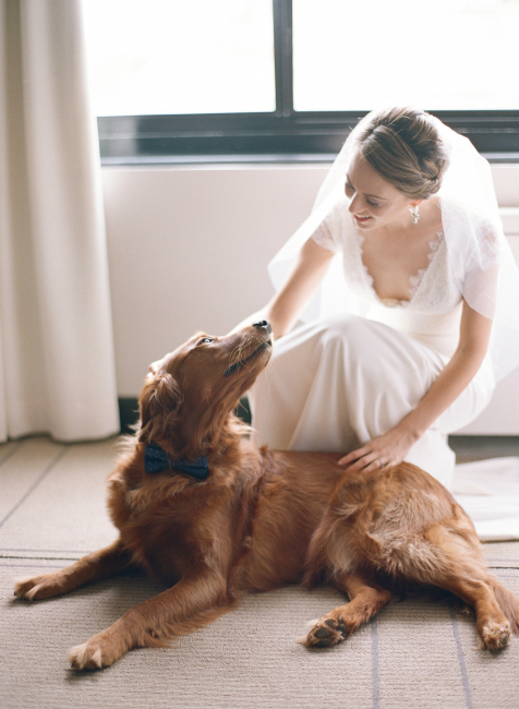 Bride Smiling with Dog