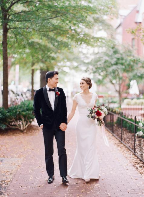 Newlyweds Walking Outside