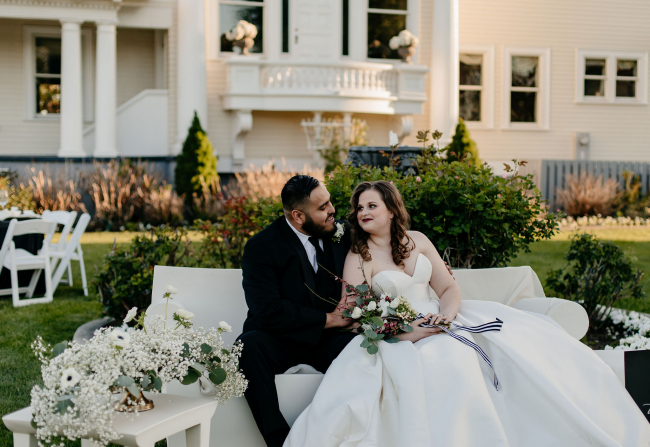 Newlyweds Sitting on Couch
