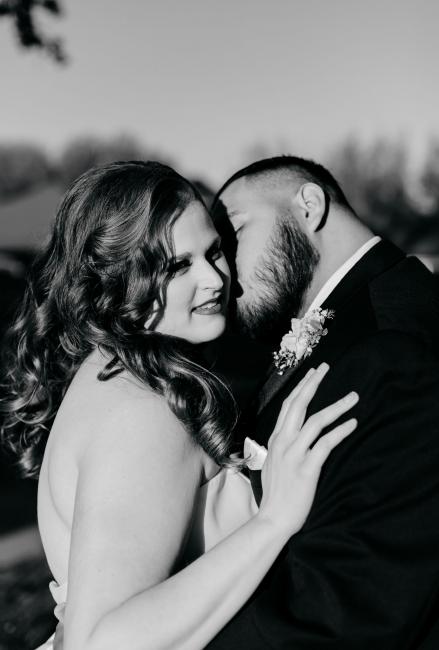 Black & White Image of Newlyweds